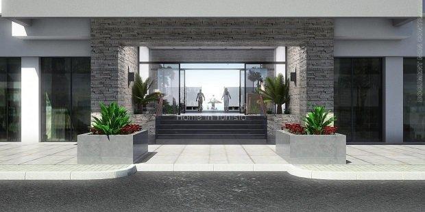 Nouvelle zone Gammarth Résidence S+1 luxe neuf tout equipe avec plage aménagée privée à 20m
