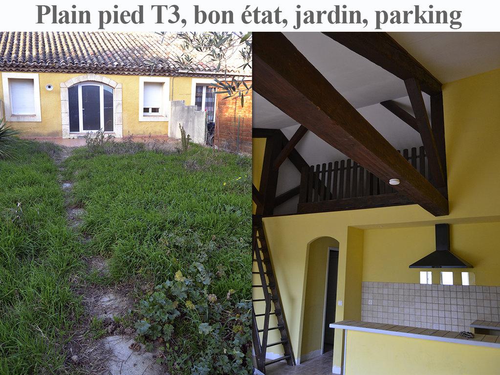 Villa 2 faces, plain pied 70 m² loi Carrez, jardin 110 m²