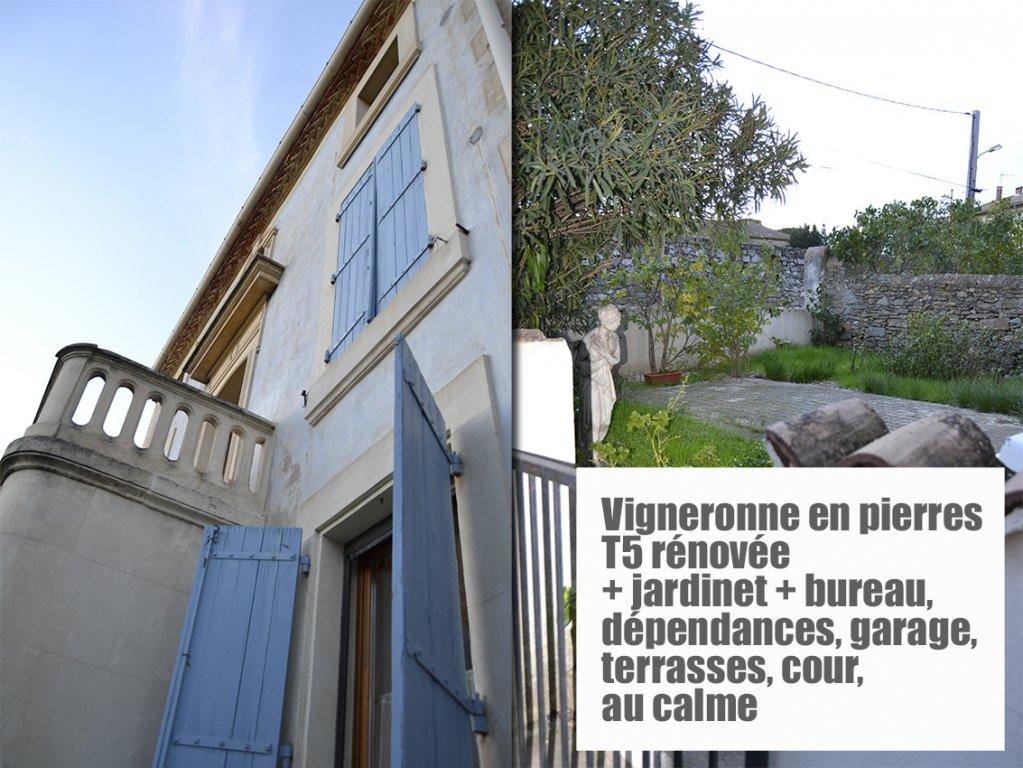 Vigneronne en pierres T5 rénovée + jardin et terrasses + bureau, garage, cour, au calme