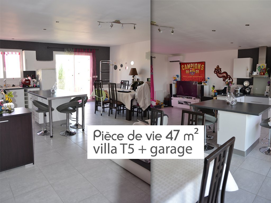 Villa T5 4 faces, garage, piscine