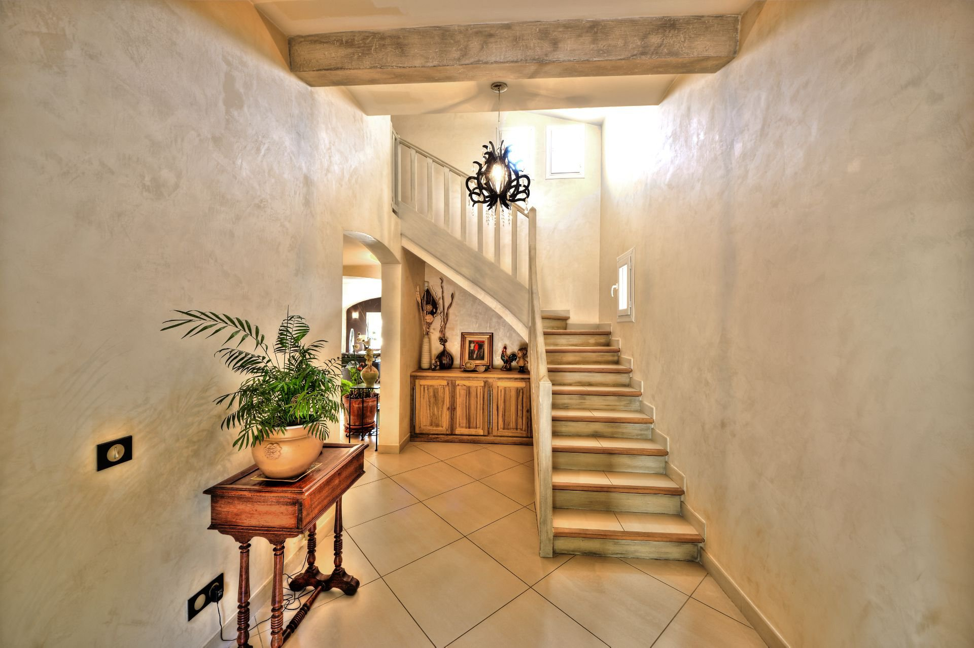 Access stairs 1st floor living room 200 sqm, 4 bedrooms, outbuilding on 8000 m² agricultural area, Ampus, Var, Provence, Paca