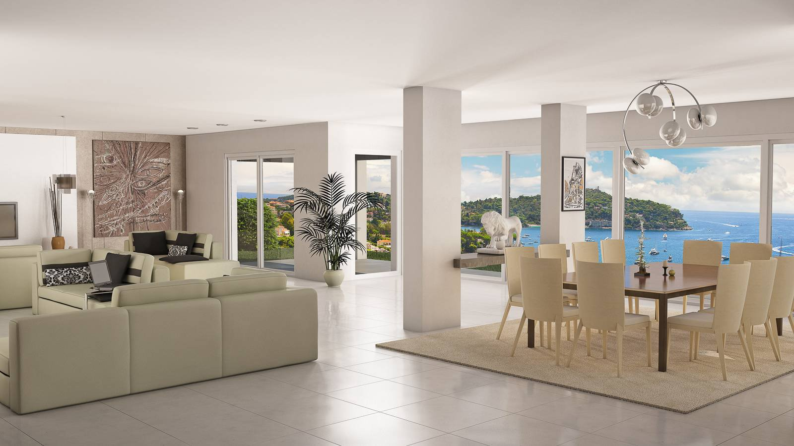 Villefranche-sur-Mer. Marvellous sea view, contemporain villa