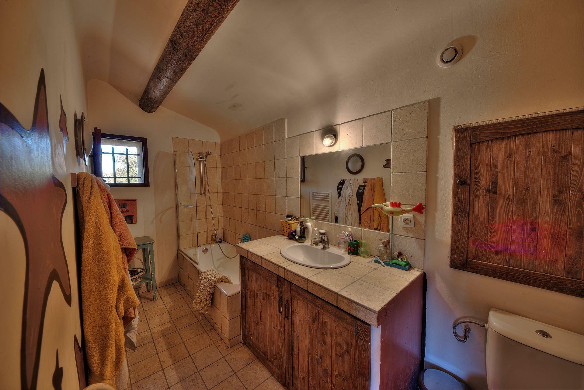 Salle de bains 2 de la propriété en  pierre de 35 ha haut Var Verdon