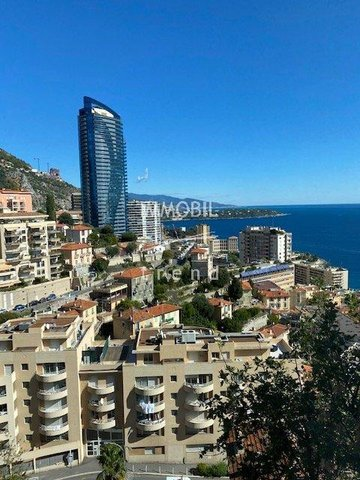 Real estate Beausoleil - For rental two bedroom apartment close to Monaco, with two terraces, sea view and a parking space