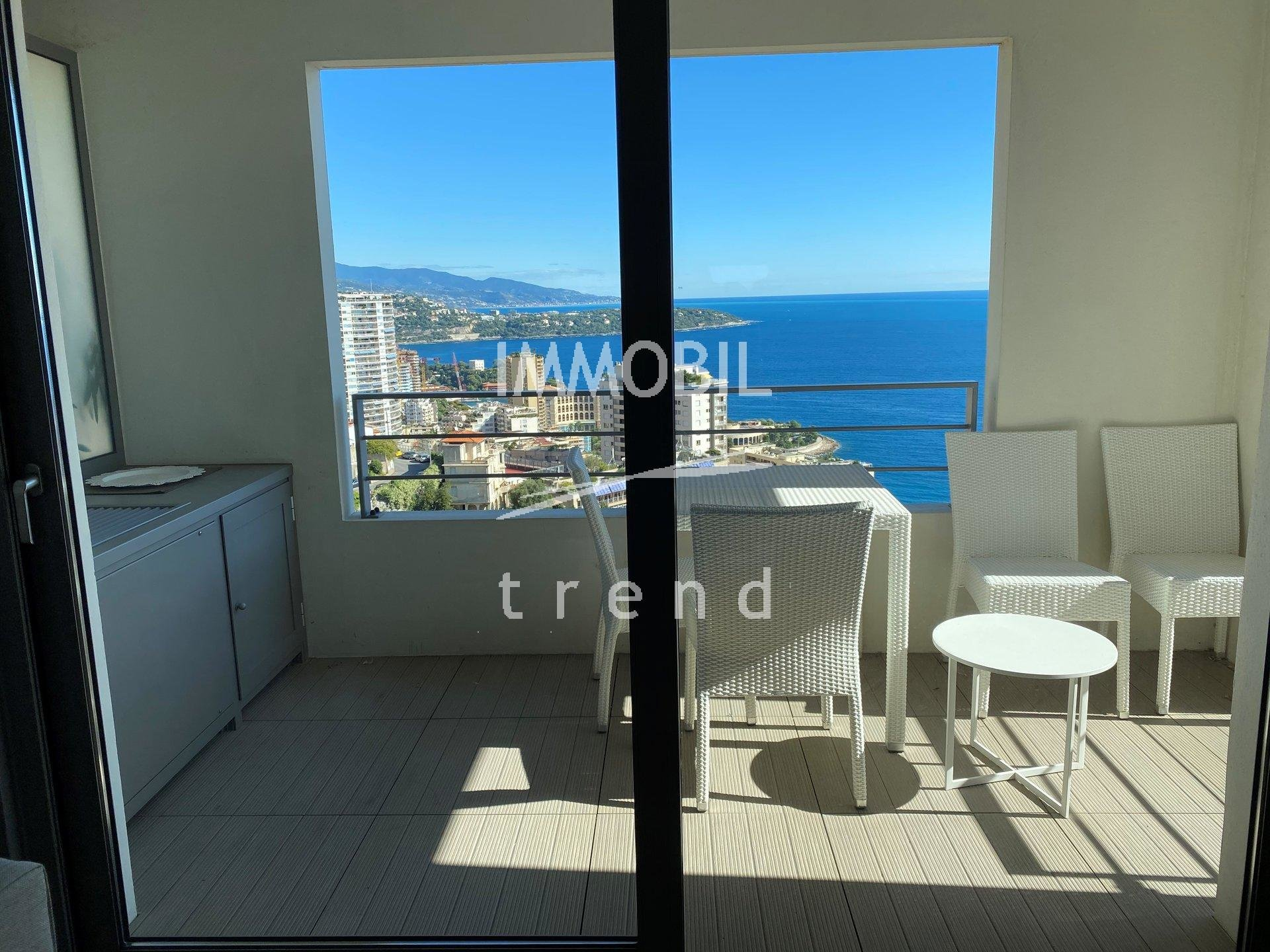 Real estate Beausoleil - For rental, close to Monaco, one bedroom apartment with sleeping area, terrace, sea view and a parking space