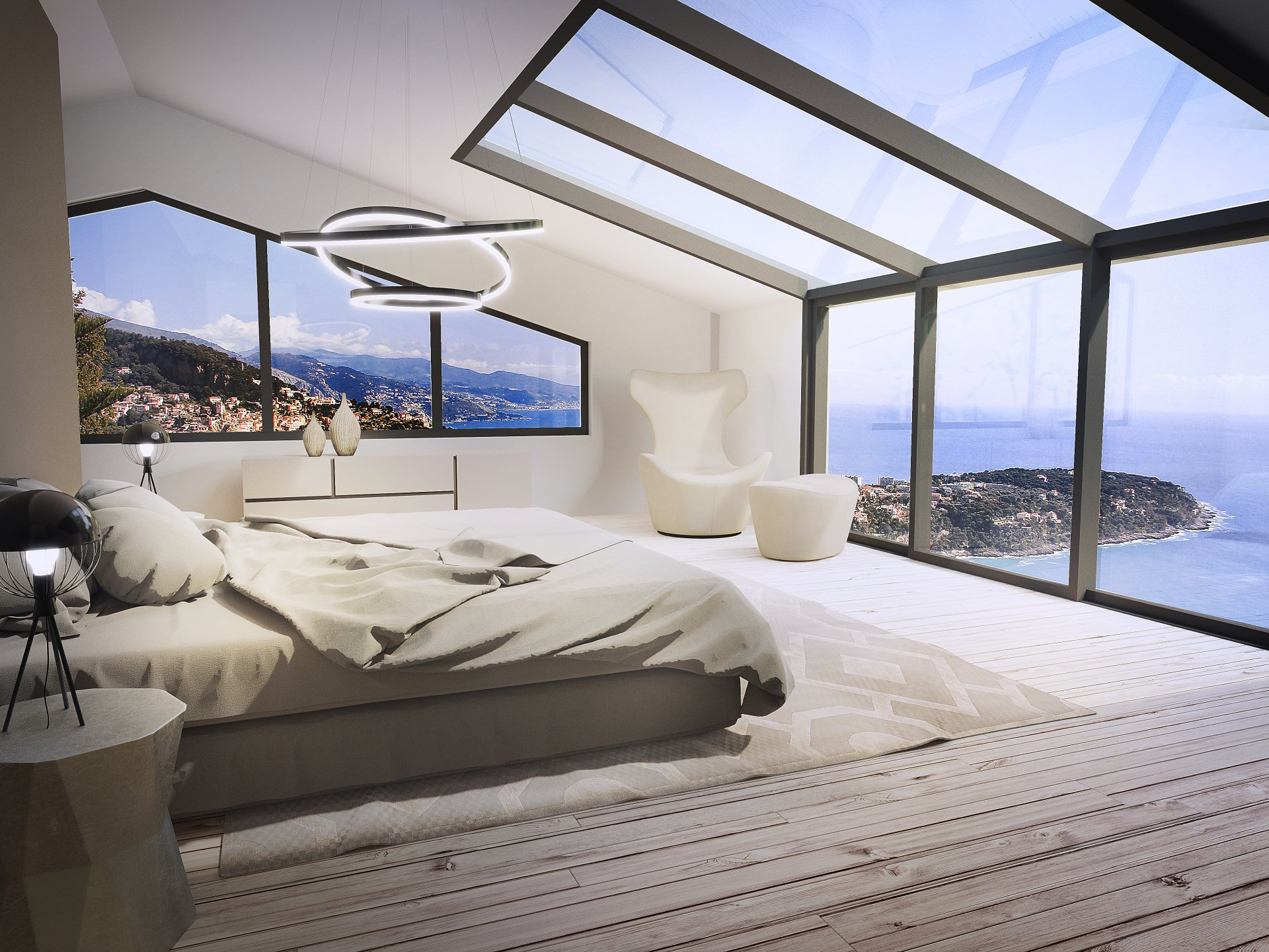 Bedroom seaview on the cap martin