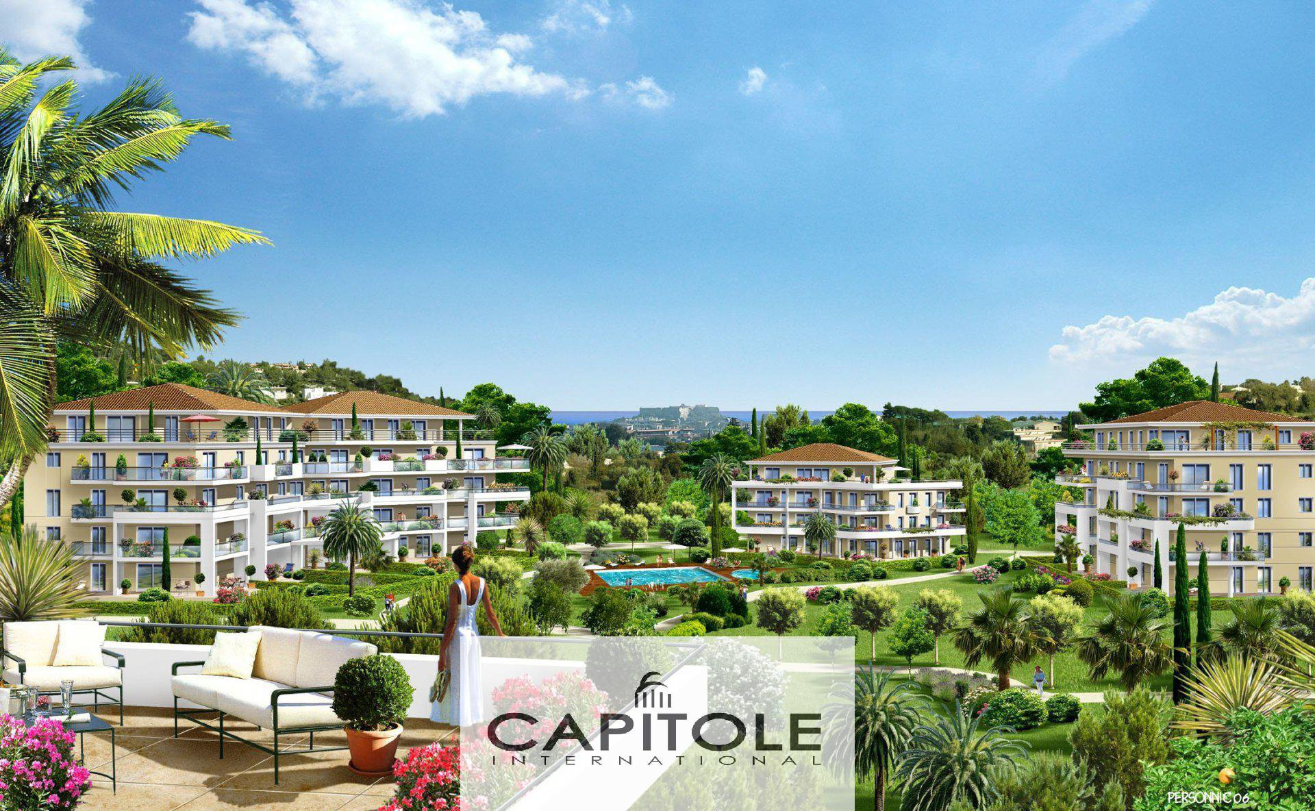 À vendre, Antibes,  appartement 4 pièces d'angle en rez-de-jardin, terrasse, parking, garage, cave