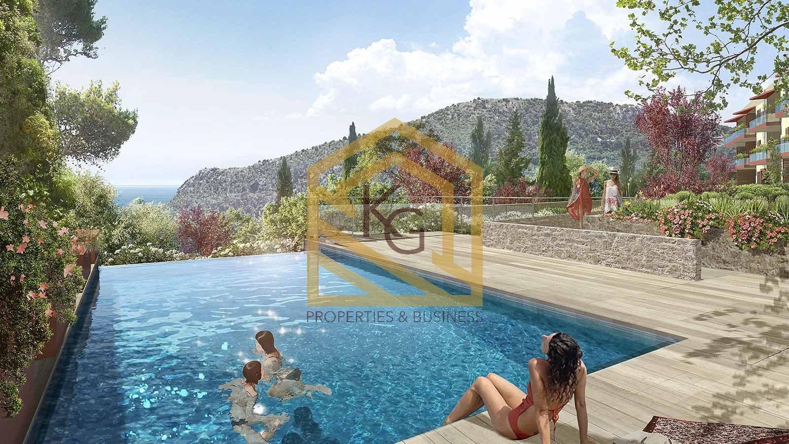 Èze,  a vendre 3 pièces vue mer dans résidence neuve avec piscine chauffée.
