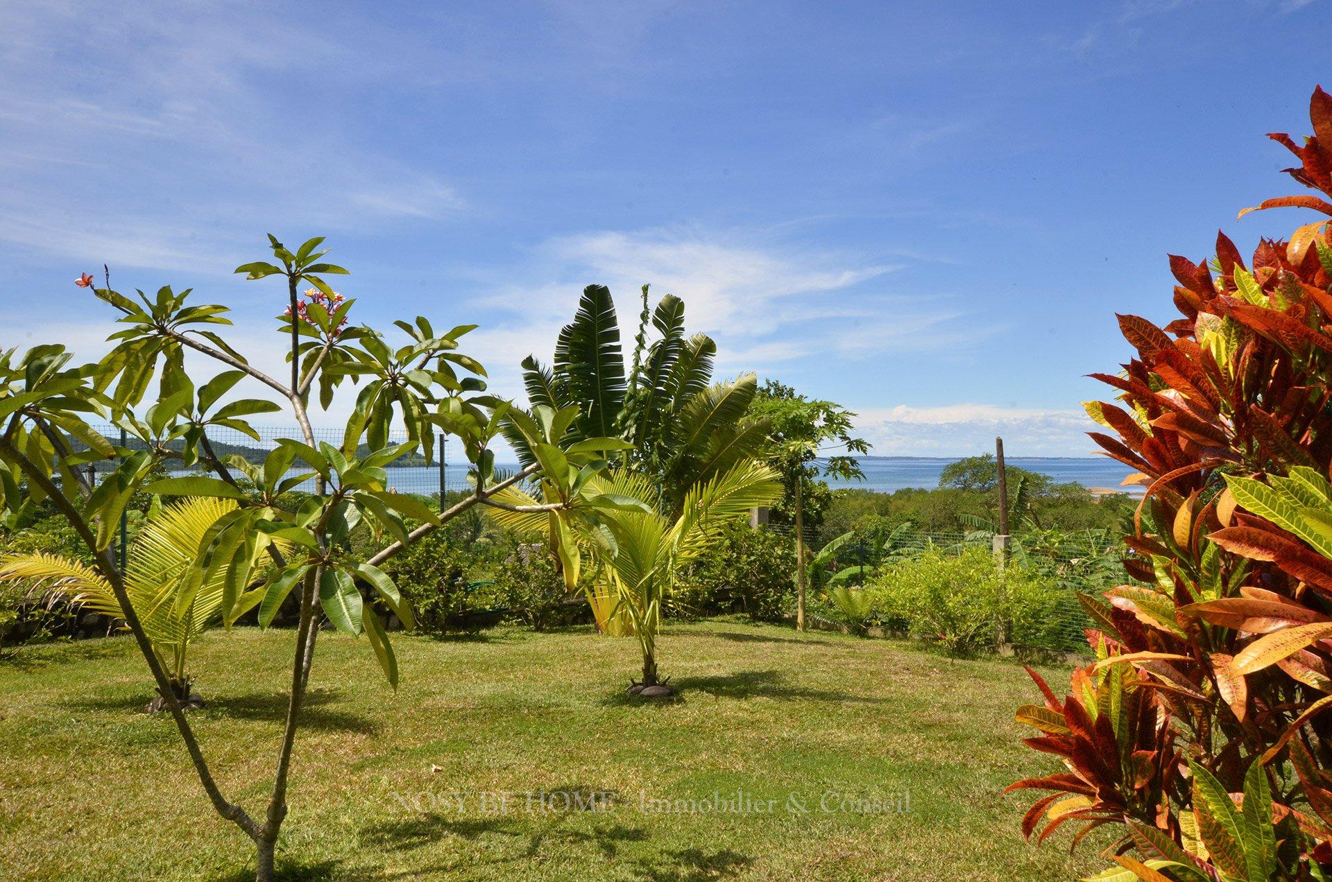 Jardin tropical avec vue sur la baie