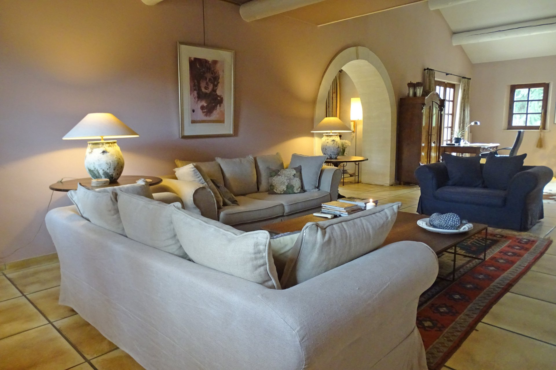 Living-room, natural light, tile, stone renovated mas