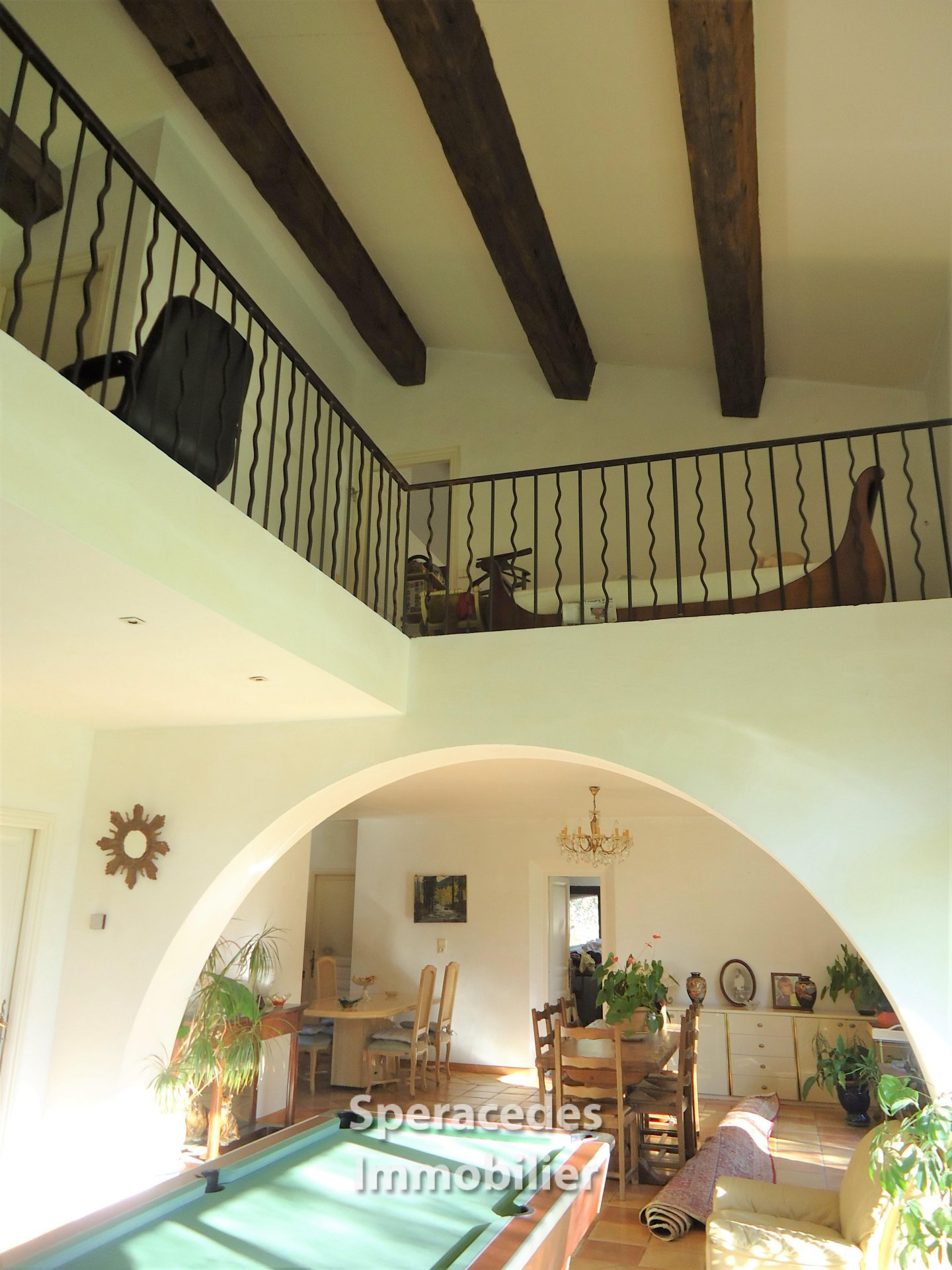 Living room with mezzanine area