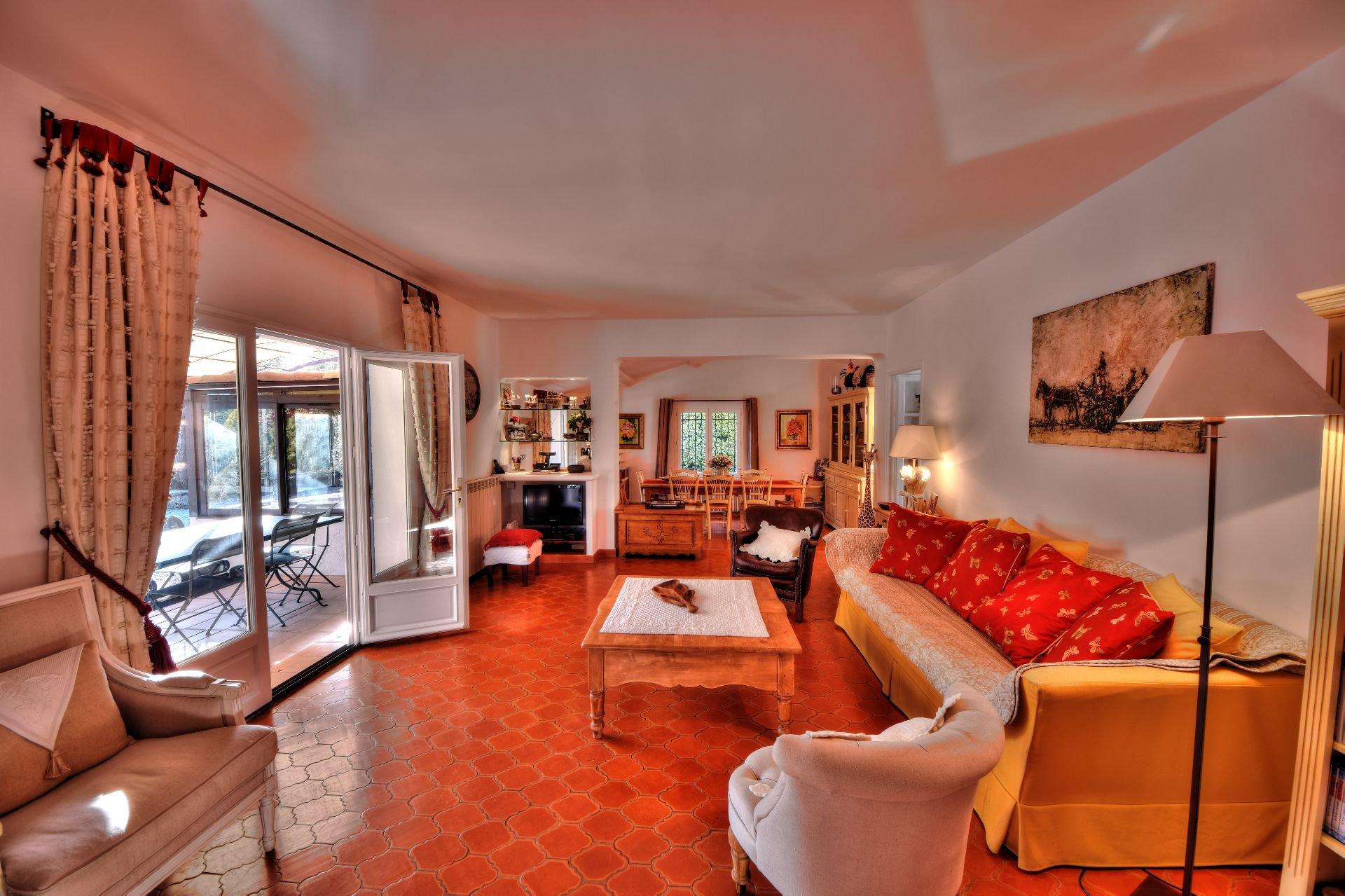 Salon avec cheminée et accès terrasse