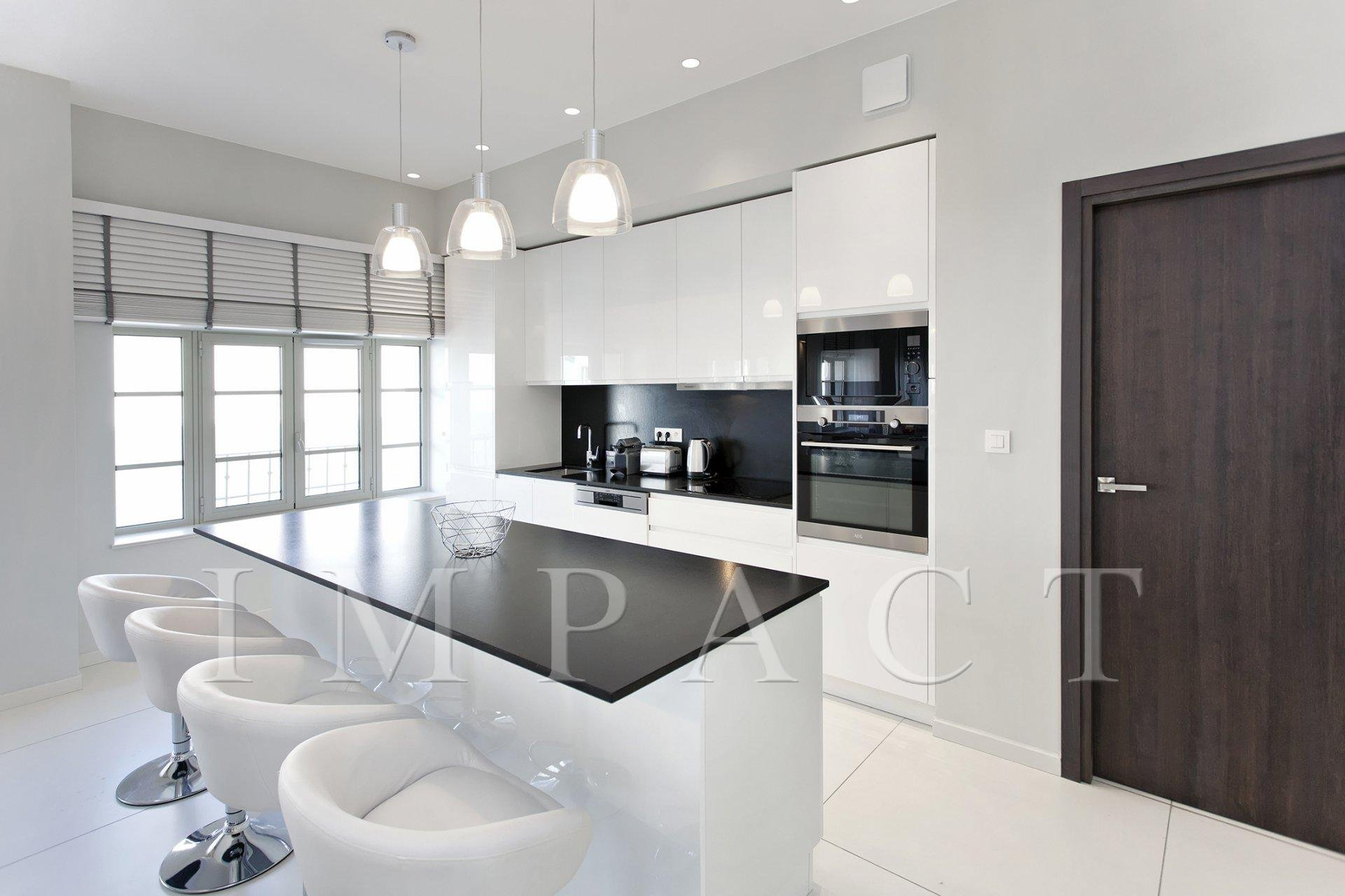Natural light, stainless steel, kitchen island
