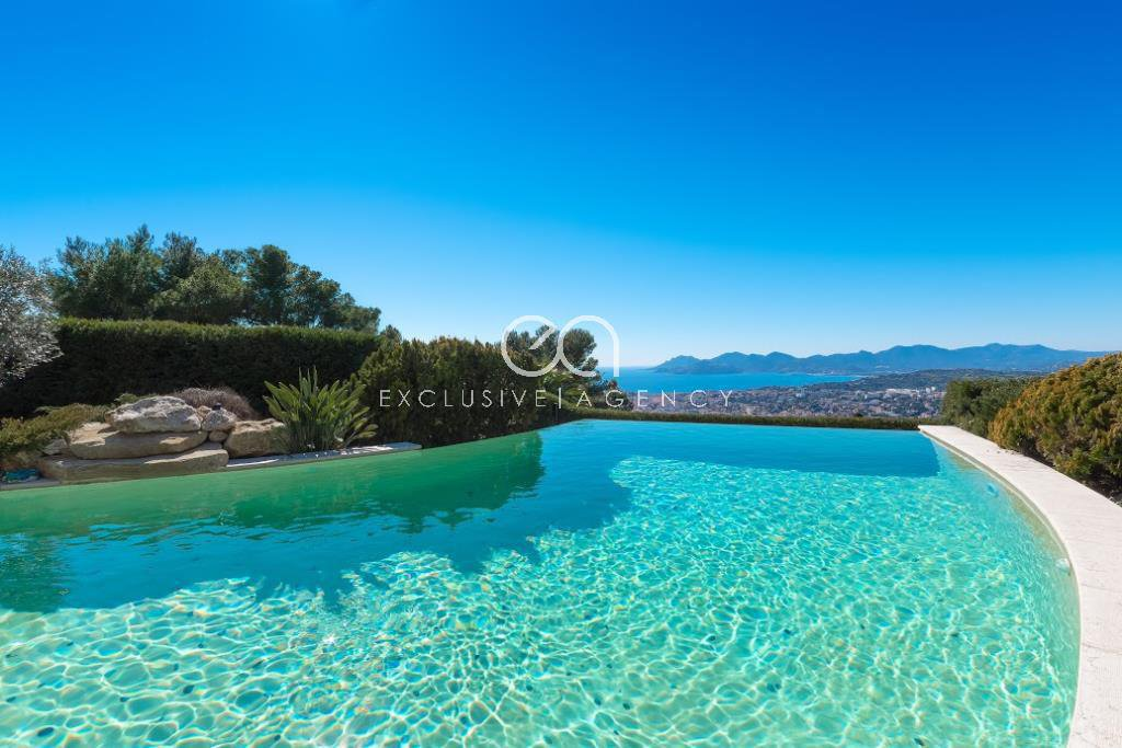 Cannes vacation rentals and villa Congress Neo Provencal 5 bedrooms, swimming pool and panoramic sea view.