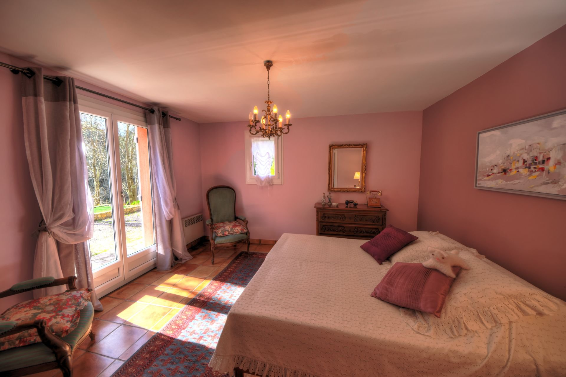 A bedroom of the house of the small property of 4 ha, Barjols, Var, Provence