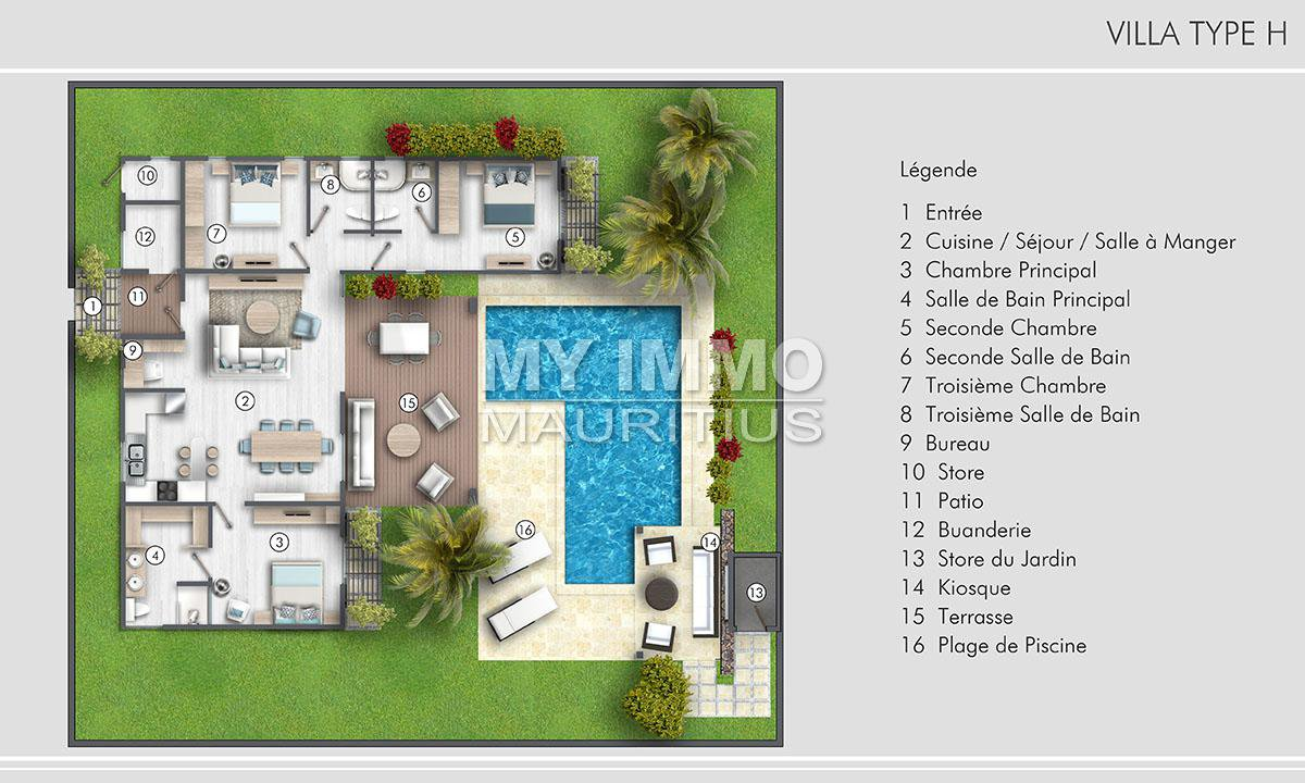 Luxury villa with 3 bedrooms en suite type H