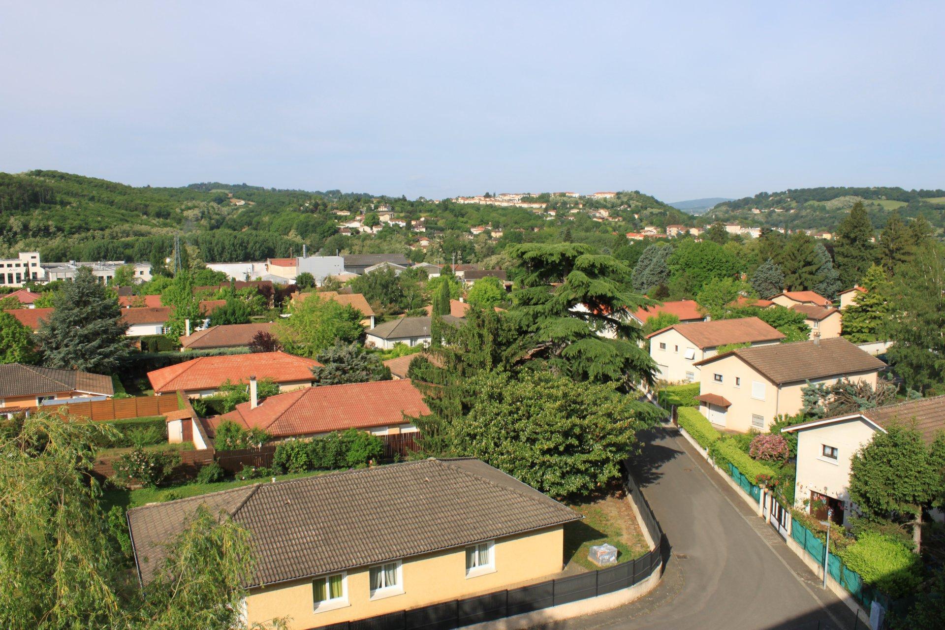 Appartement T2 loué de 41,7 m² avec balcon et cave.