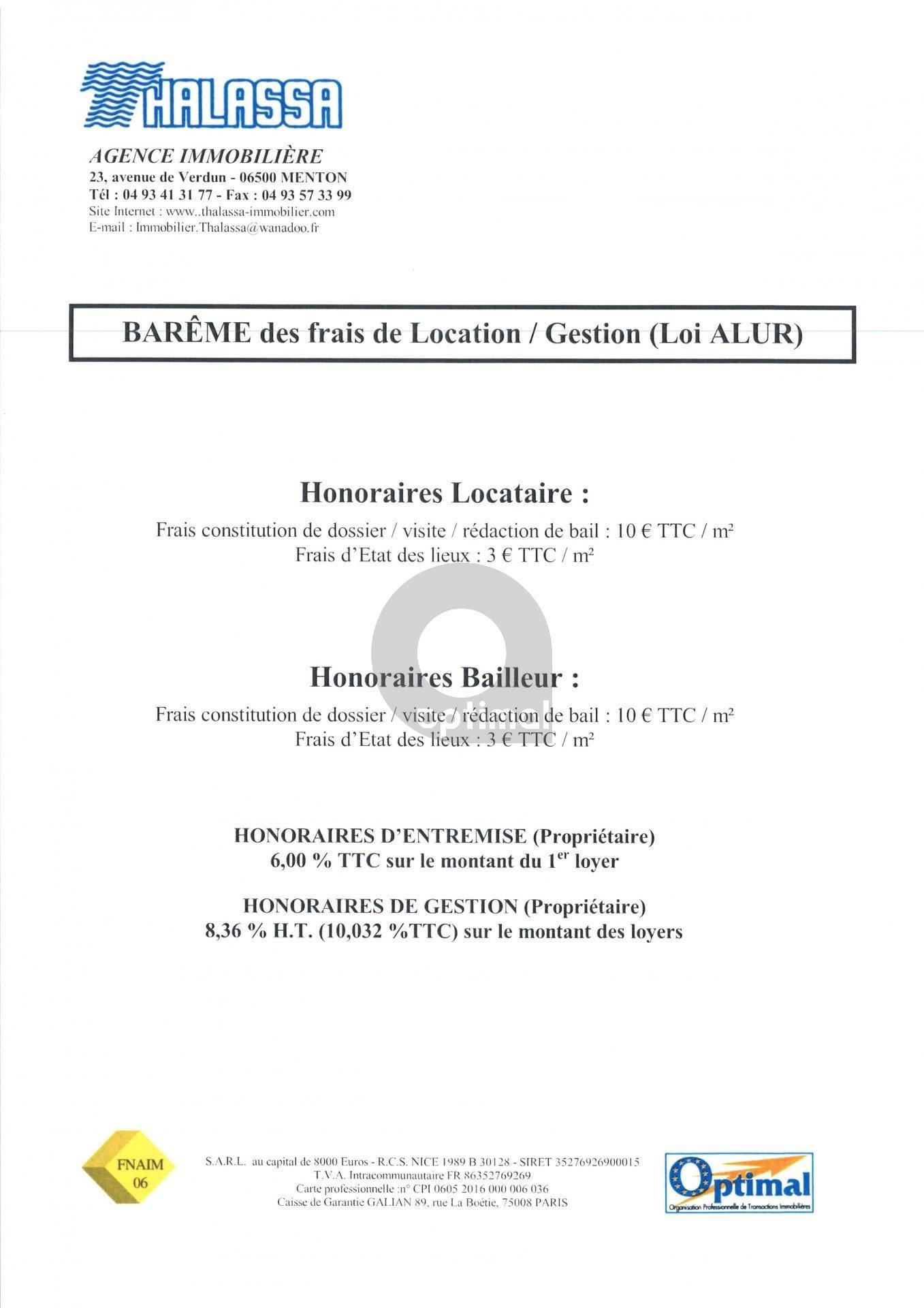 Barême Honoraires AGENCE THALASSA