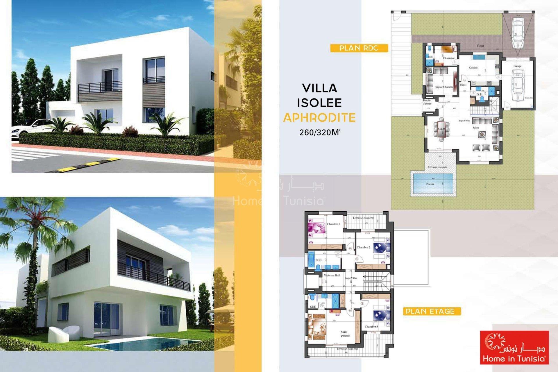 Golf villa tunisia financial harbor for Plan architecture villa tunisie