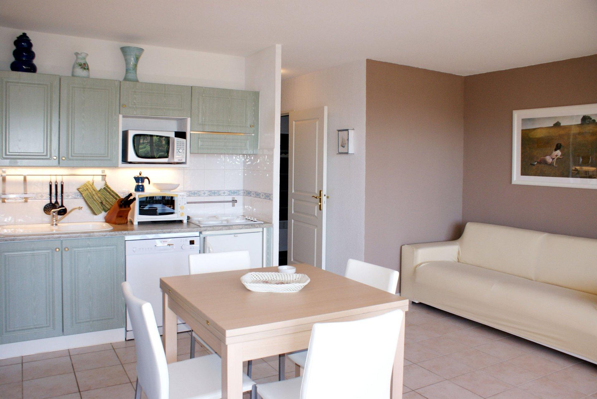 Living room bed room 4 sleeps kitchen washing machine dishwasher large terrasse sea view ro 217