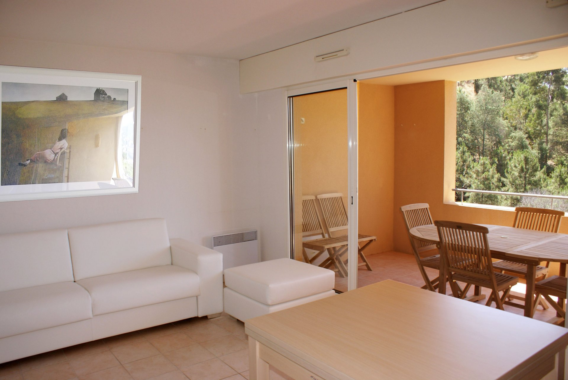 living room, bed room (4 sleeps) kitchen, washing machine, dishwasher large terrasse sea view  * RO 217 *