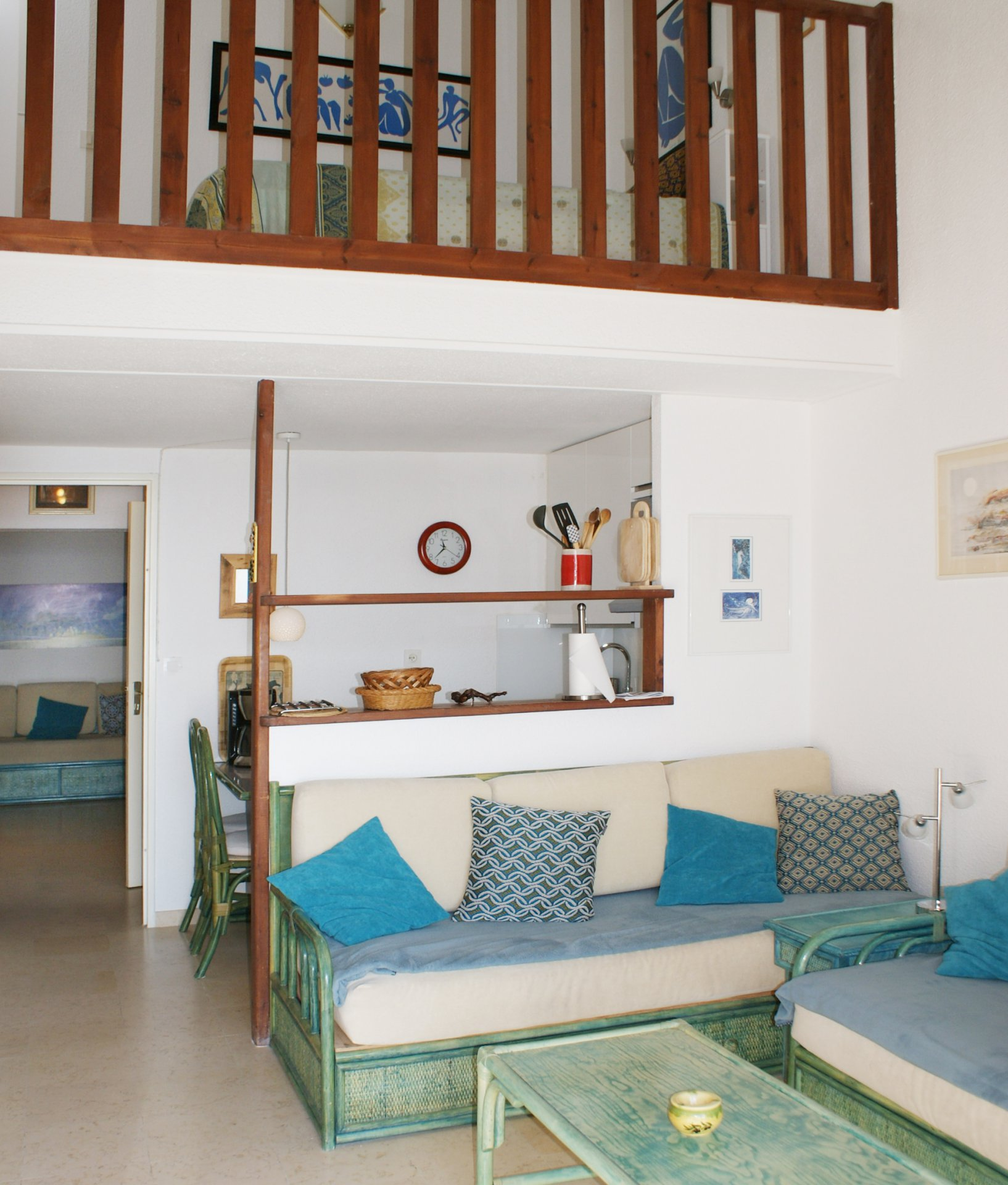 living room, cabin + mezzanine (4 sleeps) terrace,  sea view * MM 02 *