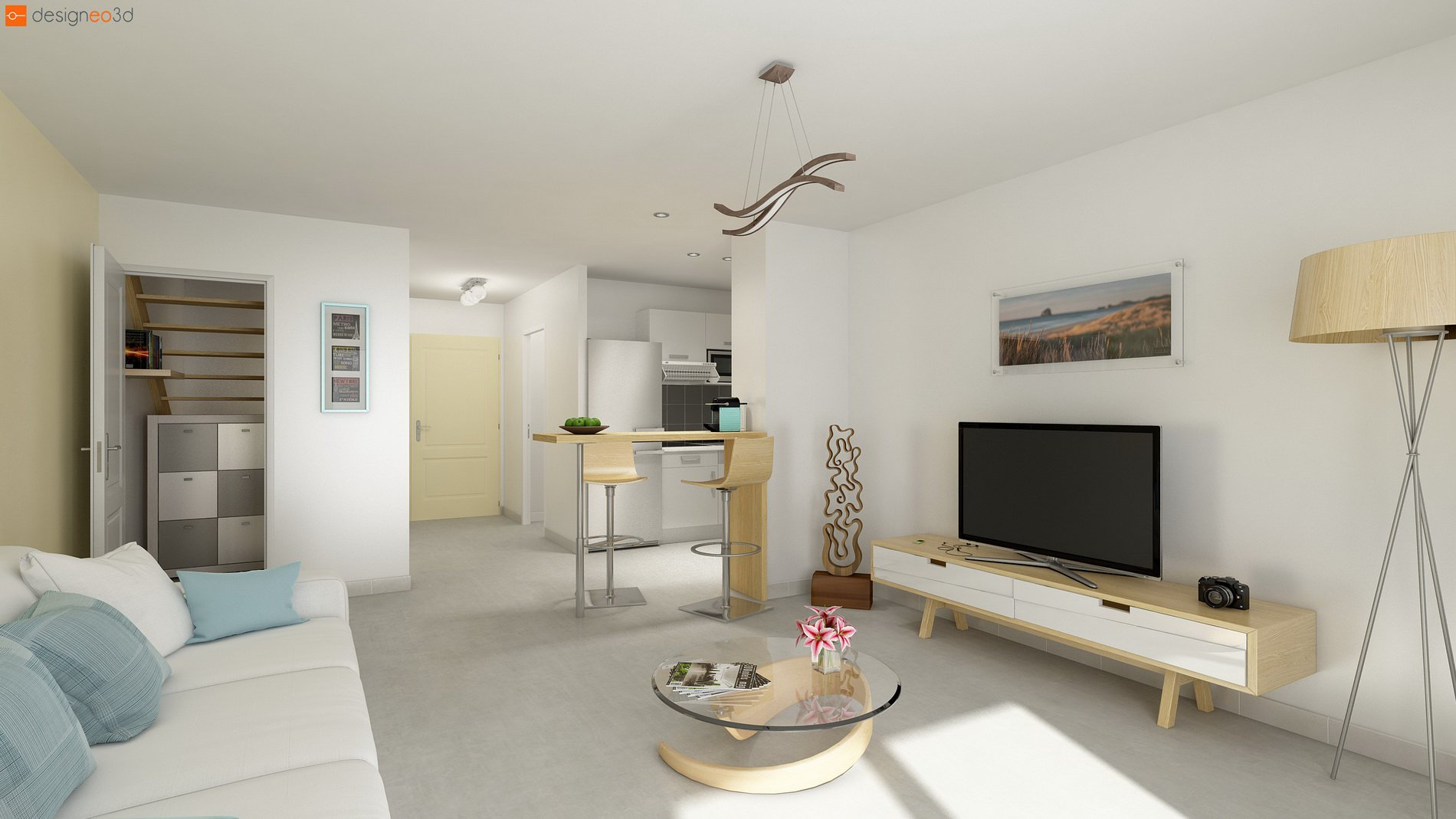 One room apartment with terrass and parking