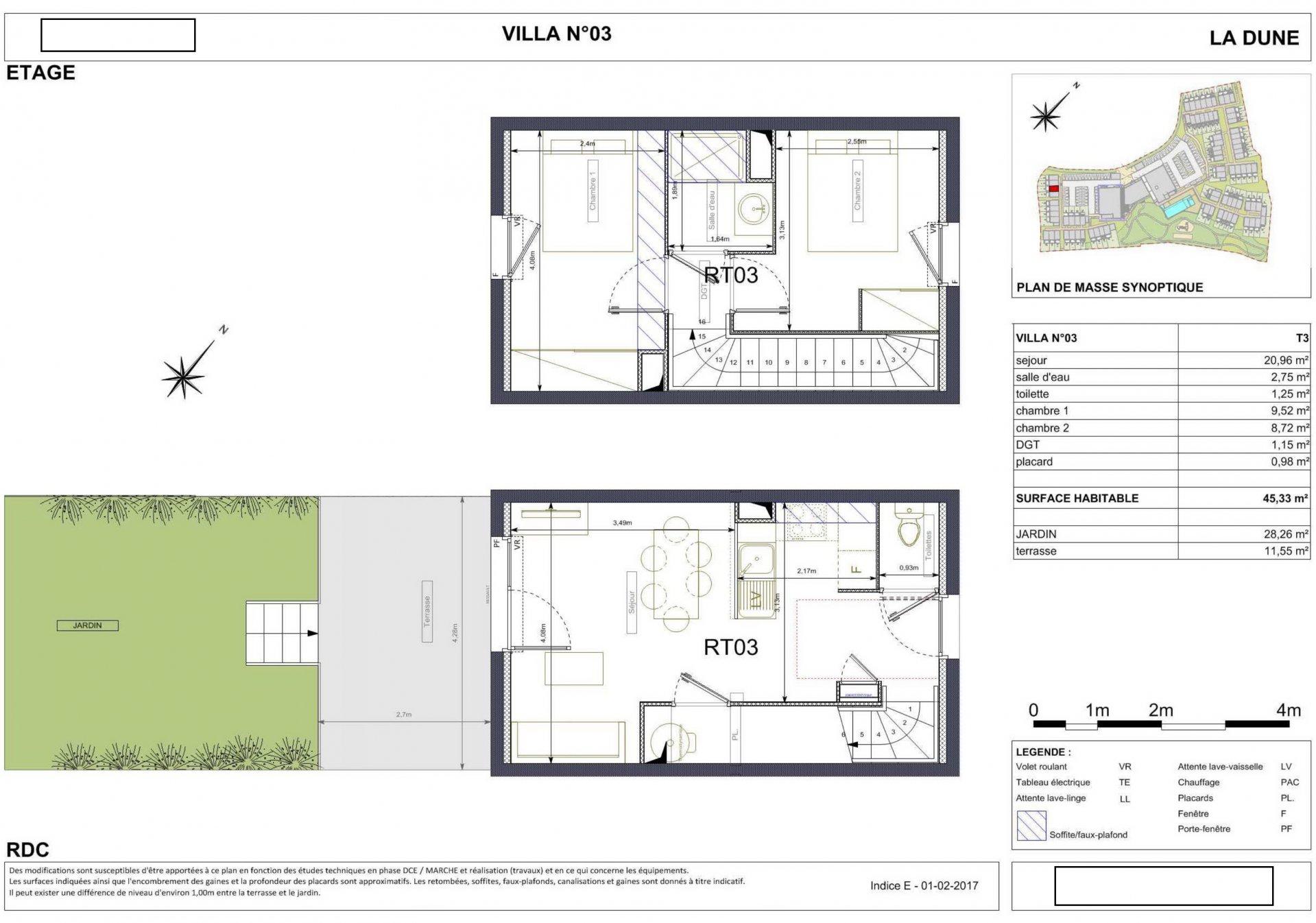 Radhus med tre rum, terrass och liten trädgård