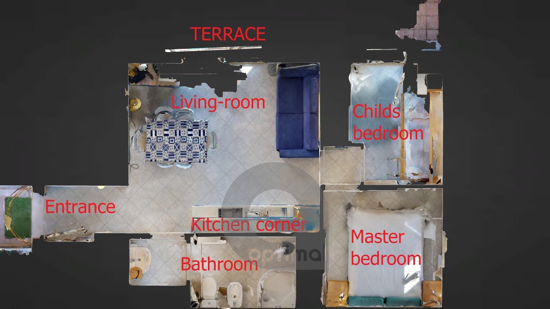 Trilocale con grande terrazzo e garage in residence con piscina