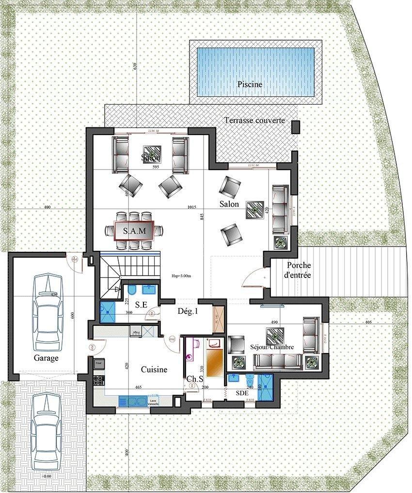 Villa golf isolée neuve de 375 m2 avec 4 chambres terrasse jardin piscine