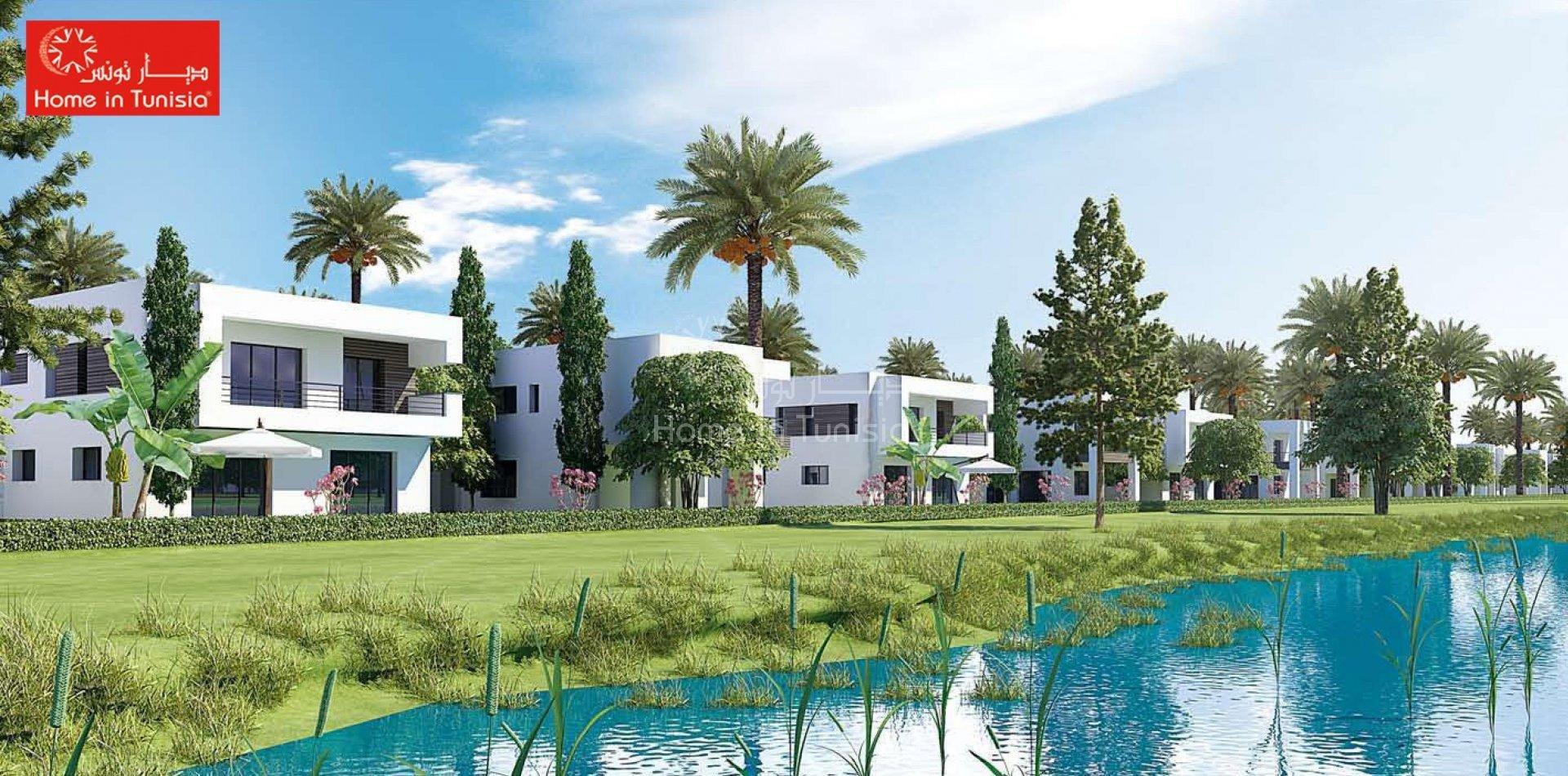 Tunis Bay résidentiel golf villa Oceanos 18 jumelée 4 chambres terrasse jardin piscine privee