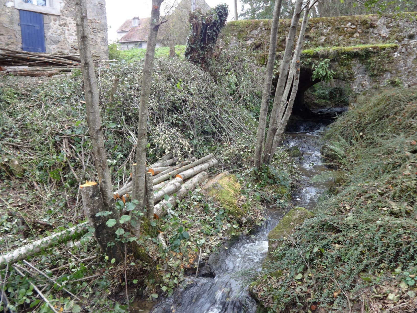 Natuurstenen boerderij aan beekje in de Bourgogne