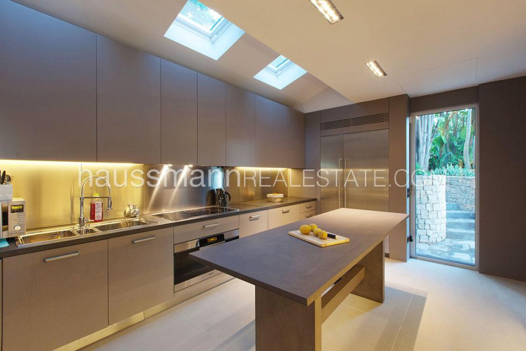 Skylight, stainless steel, natural light, kitchen island