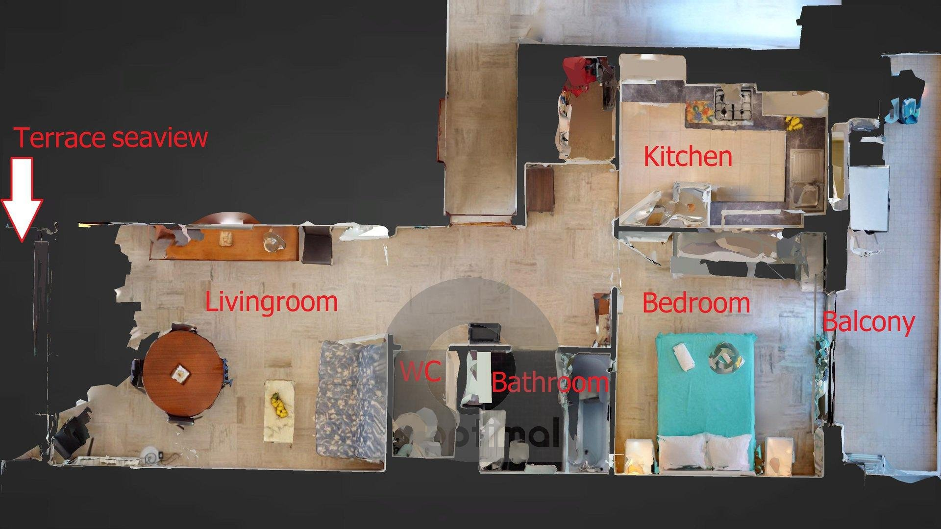 2P face mer avec terrasse et garage