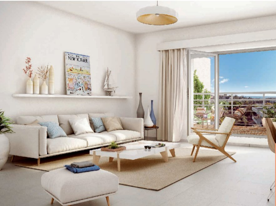 Антибы, Новострой, 3-х комнатная квартира 65 м2, балкон 24 м2,  с паркингом, 376 000€.