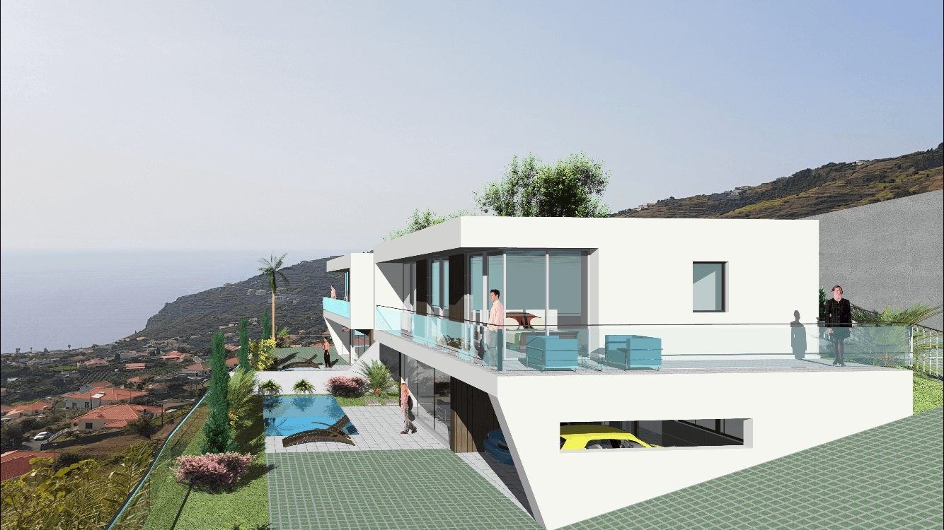 Magnificent Modern T3 New House Semi-Detached of 170 m2 with Swimming Pool on 350 m2 of Land with a Nice Ocean View. Calheta