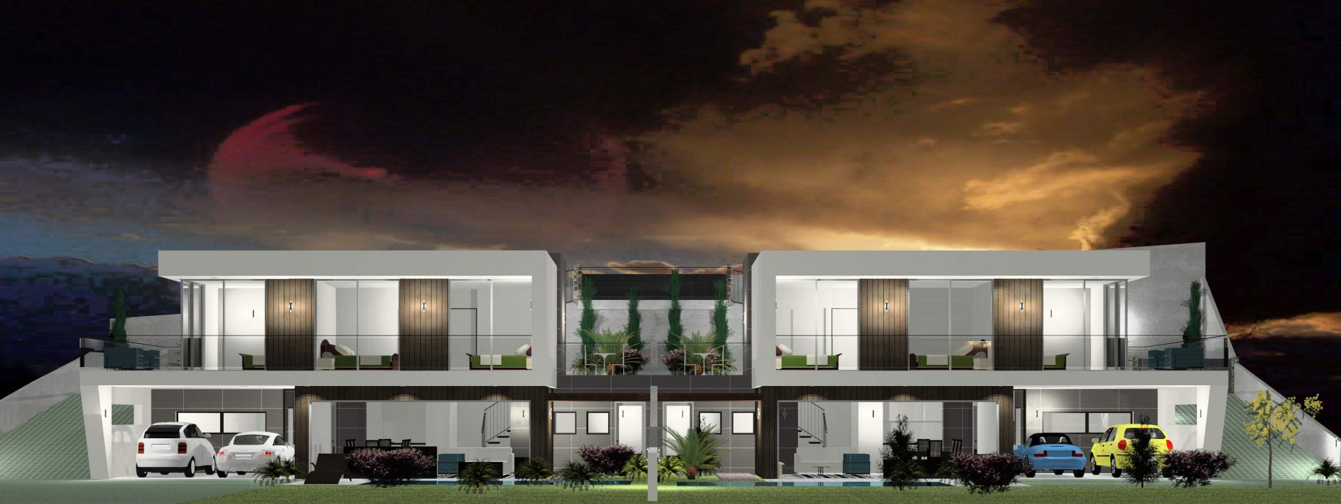 Fantastica Casa Moderna T3 Nova Semi-Geminada de 170 m2 com Piscina e 350 m2 de Terreno. Vista Superba para o Mar. Calheta.