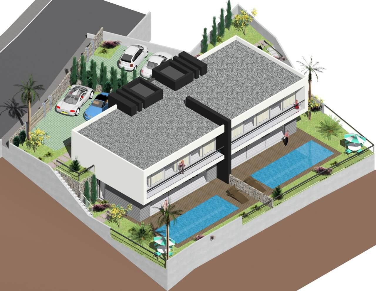 Casa Moderna T3 Nova Semi-Geminada de 170 m2 com 310 m2 de Terreno, Piscina e Vista Mar. Calheta