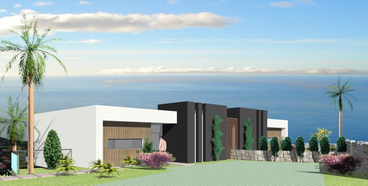 Modern T3 New House Semi-Detached of 170 m2, on 310 m2 of Land with Swimming Pool and Sea View, Calheta
