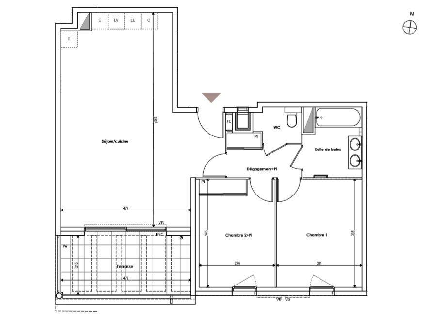 T3 70 m2 Terrasse + Box