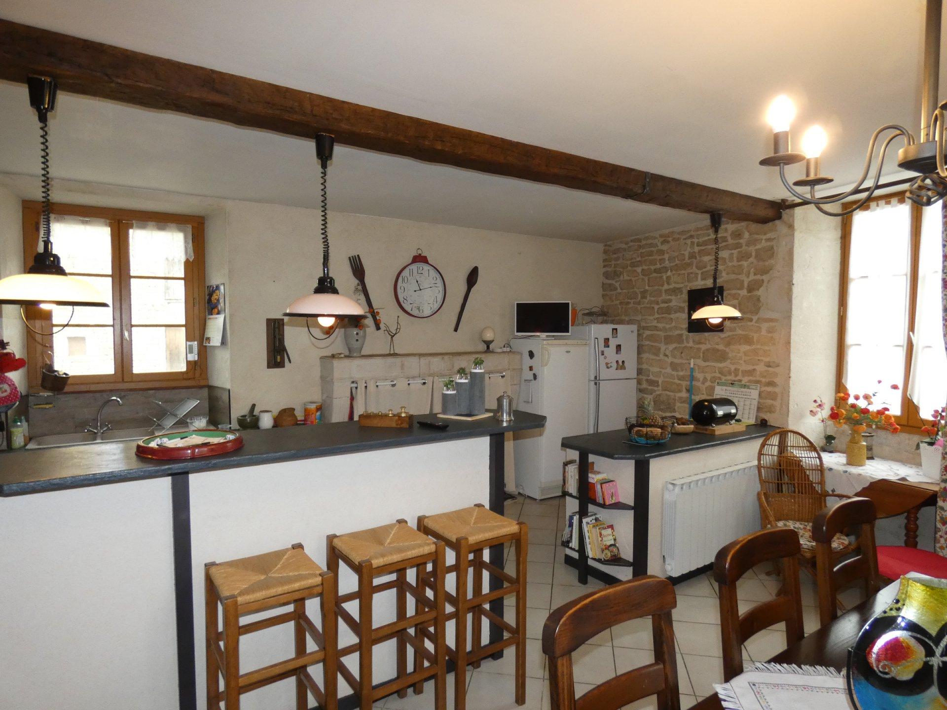 Kitchen bar, chandelier