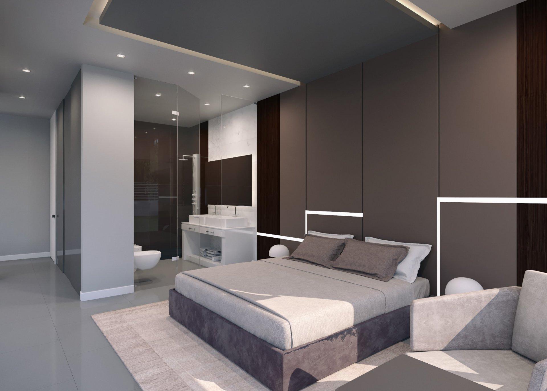 Nieuwe moderne vrijstaande villa in aanbouw
