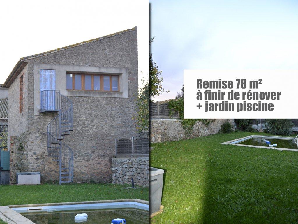 Remise en pierres sur terrain 300 m², piscine - au calme