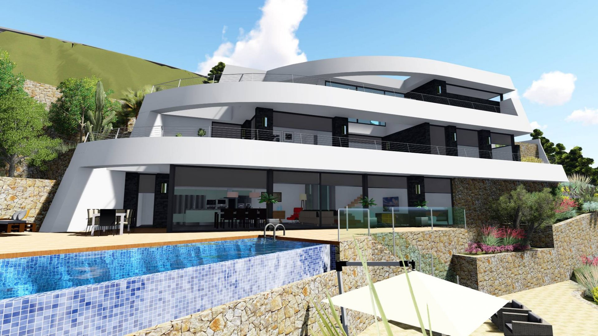 Modern style villa with panoramic sea view