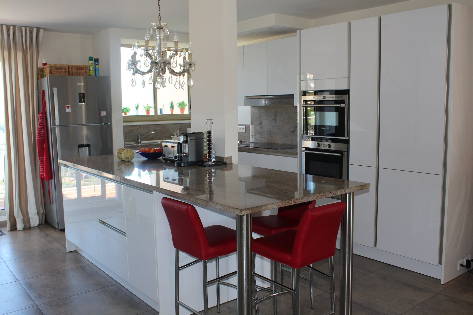 Stainless steel, chandelier, kitchen bar, kitchen island