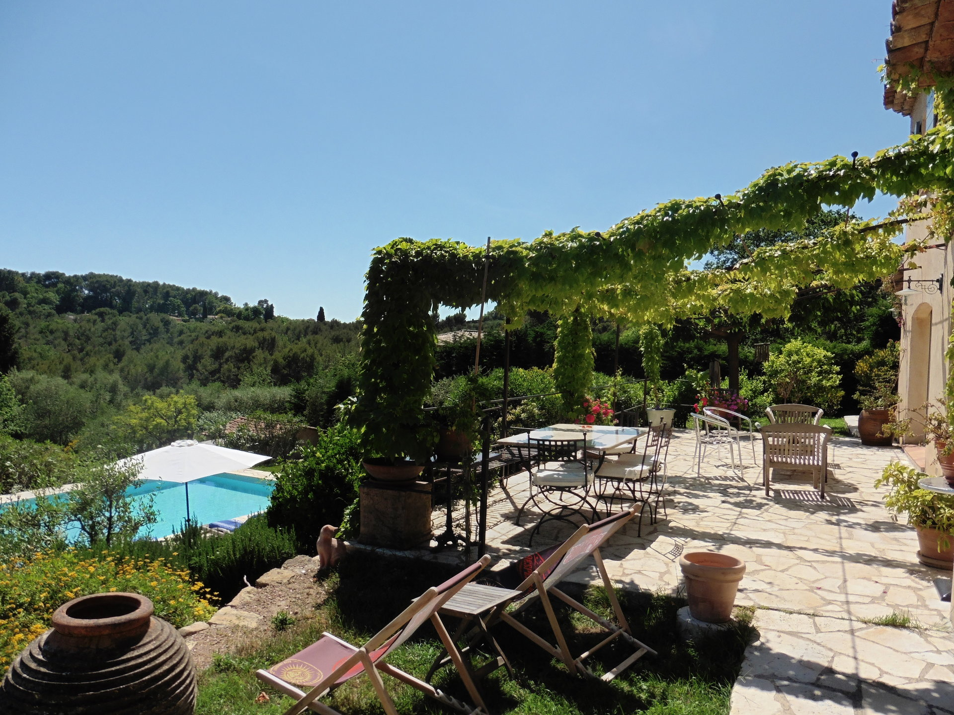 On the french riviera, sea view villa, pool, close Valbonne and Sophia Antipolis.