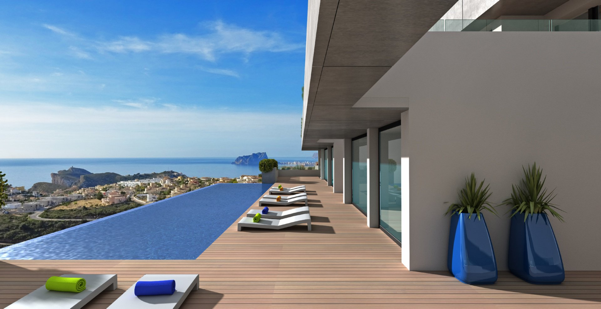 New build apartment with panoramic sea views