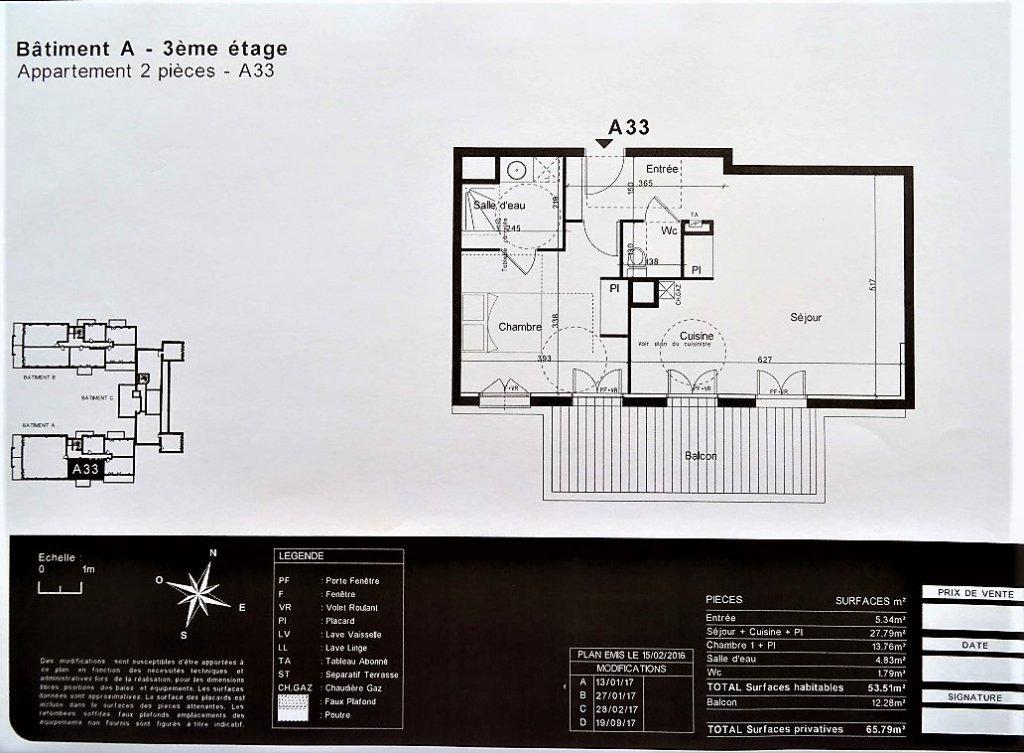 Colomiers, T2 de 53 m² avec balcon et 2 garages.