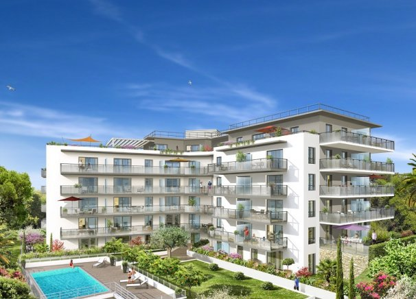 New apartments with pool and sea view in Fabron in Nice