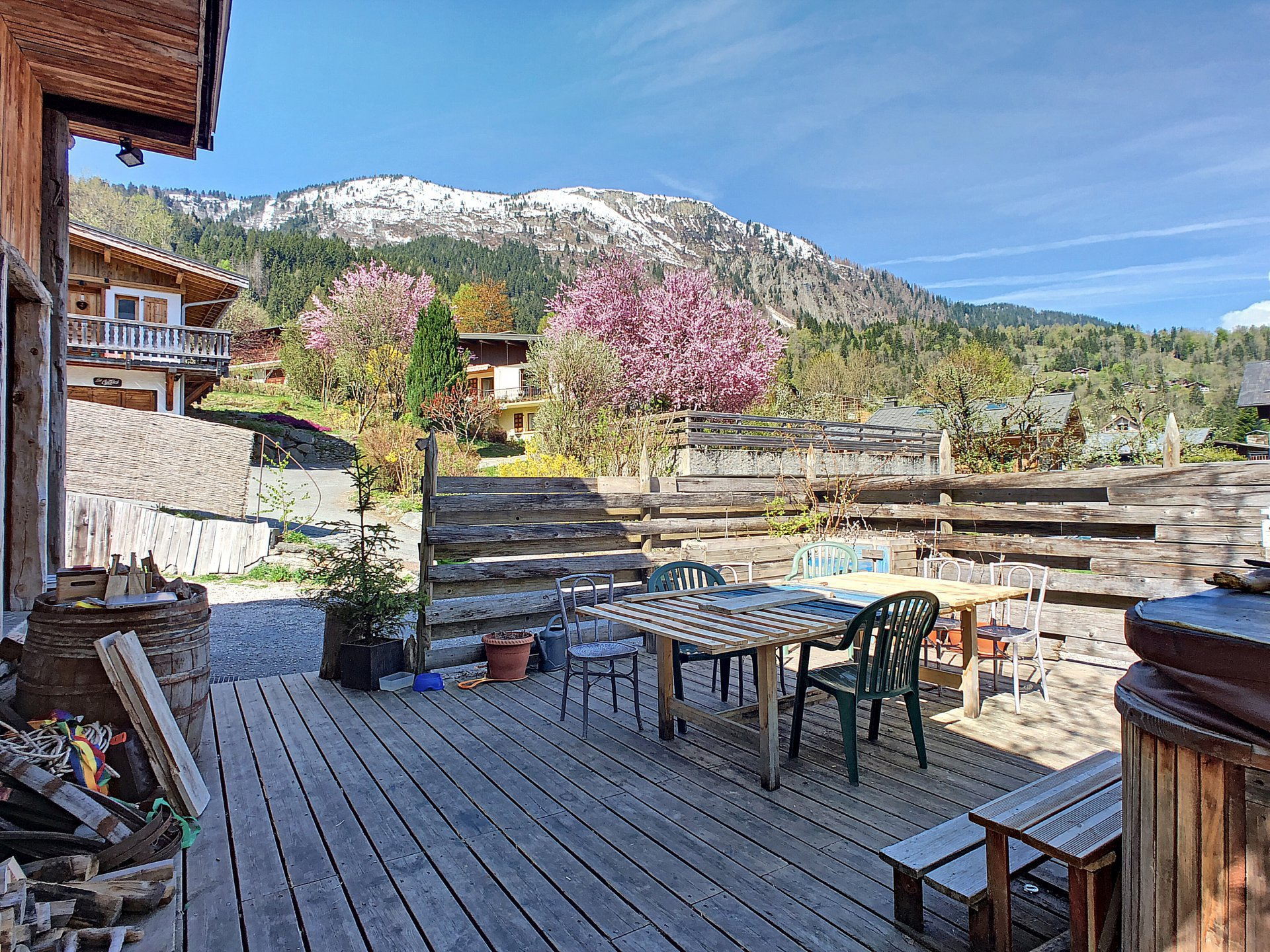 Sunny terrasse with a view over the Fizz mountain range
